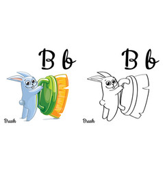 brush alphabet letter b coloring page vector image