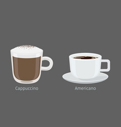 cappuccino and americano coffee cups vector image vector image