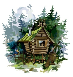 Cartoon fairy hut on chicken legs in woods vector