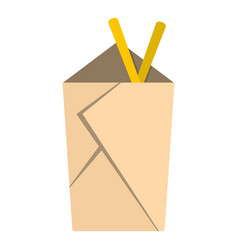 Chinese take out box with chopsticks inside icon vector