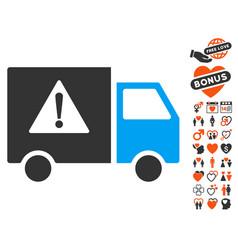 Danger transport truck icon with valentine bonus vector