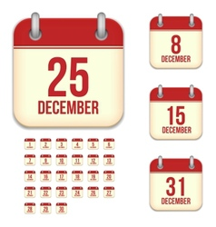 December calendar icons vector image