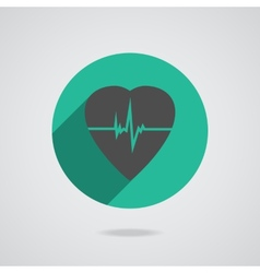 Defibrillator red heart icon isolated on yellow vector