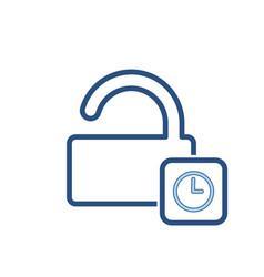 Delay lock padlock password secure time icon vector