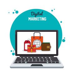 Digital marketing laptop internet business vector