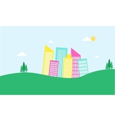 Flat design urban in hill of silhouettes vector image