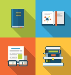 Flat icons design of handbooks books and publish vector