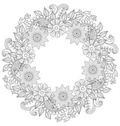 Floral doodles wreath in zentangle ornamental vector
