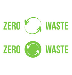 Green zero waste heading logos design elements vector