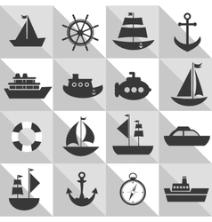 grey and white background with sea transport vector image vector image