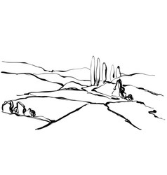 Hand drawn landscape field tree and hill vector