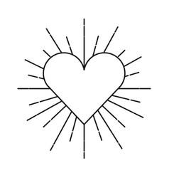 Heart love sunburst icon vector
