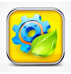 Icon with gear and leaf vector image vector image