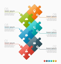Infographic template with 6 puzzle sections vector