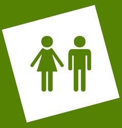 Male and female sign white icon obtained vector