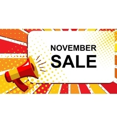 Megaphone with november sale announcement flat vector