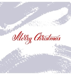Merry christmas red logo handwritten lettering vector