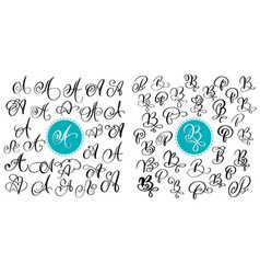 set of hand drawn calligraphy letter a and vector image vector image