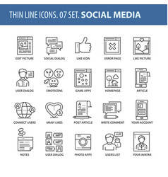 set of thin line flat icons social media vector image vector image