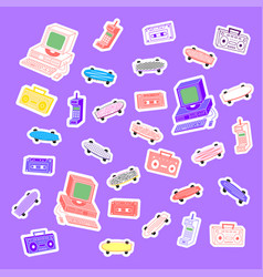 Sets 80s stickers computers phones cassettes vector