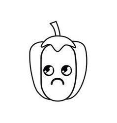 Silhouette kawaii cute thinking pepper vegetable vector
