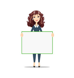 Woman holding a blank poster vector