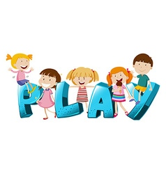 Word design with kids and word play vector