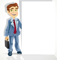 Cute businessman hold big blank banner vector