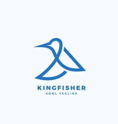 Kingfisher bird abstract icon label or vector