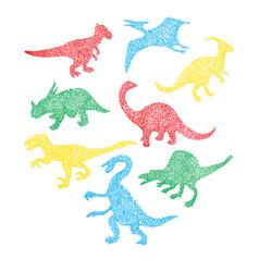 Different dinosaur silhouette icon in cartoon vector