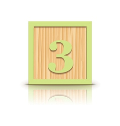 Number 3 wooden alphabet block vector