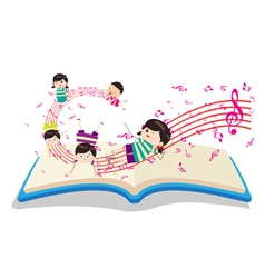 Happy music kids with book vector
