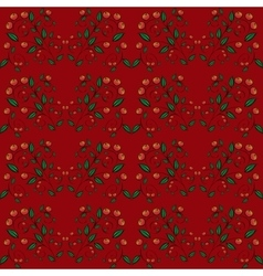 Cranberry currant red berries seamless pattern vector