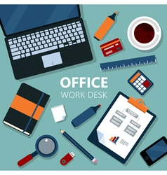 Modern office work desk with laptop vector