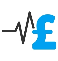 Pound financial pulse flat icon symbol vector