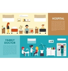 Hospital and family doctor flat hospital interior vector