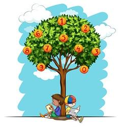 Numbers on orange tree vector image