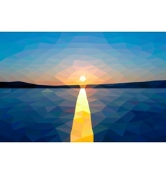 Low poly sunset on the winter lake vector