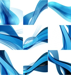 Abstract background set Blue waves on light vector image