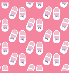 Baby girl shoes seamless pattern vector