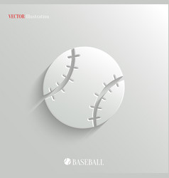 Baseball icon - white app button vector