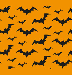 bat silhouette seamless pattern halloween vector image