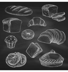 Bread chalk sketch icons on blackboard vector
