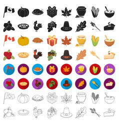 Canadian thanksgiving day set icons in cartoon vector