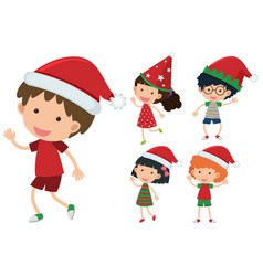 children wearing christmas hats vector image