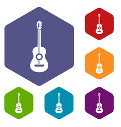 classical guitar icons set vector image