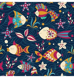 Colorful Seamless Pattern with Fish vector image vector image