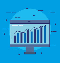 computer monitor with statistics vector image