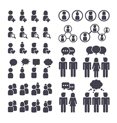 Connected people and social network icons vector