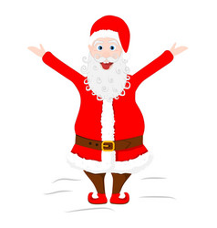 Crazy santa claus shows his tongue and raised vector